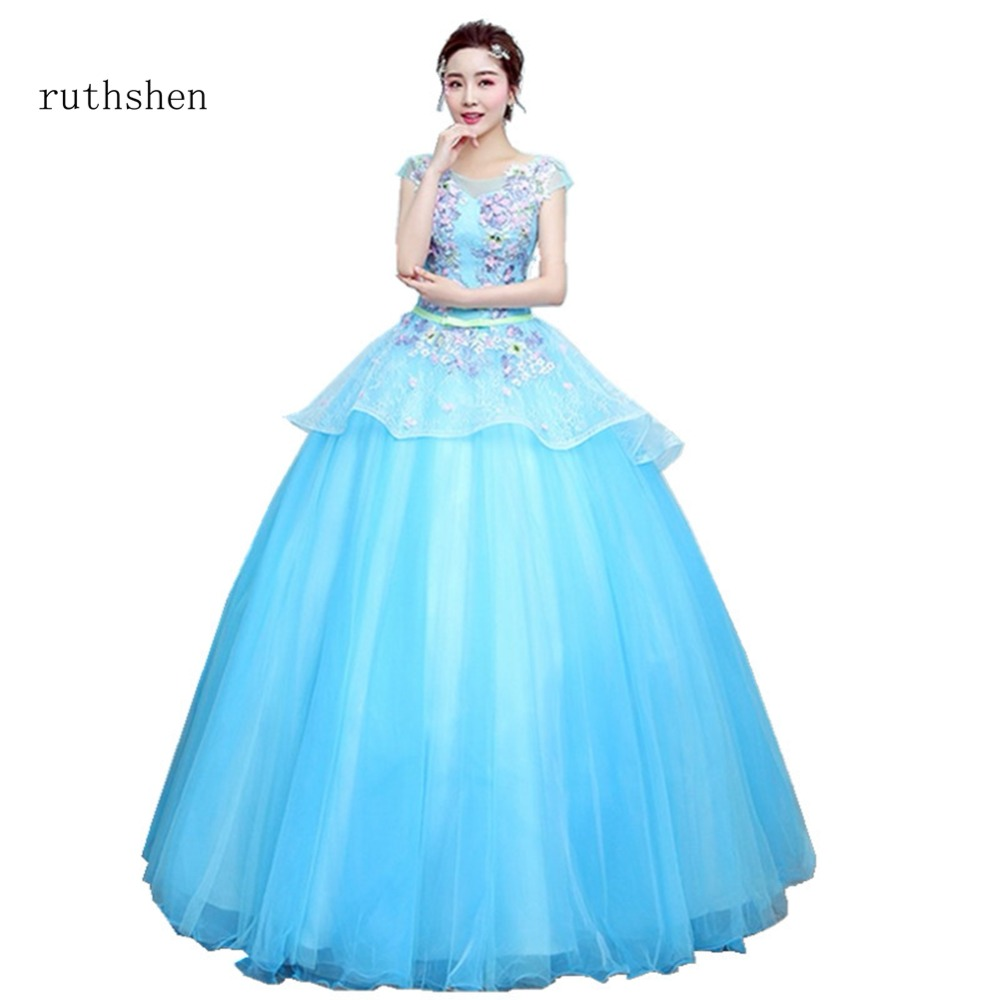 ruthshen Sweet Baby Blue Ball Gowns In Stock Cheap Appliques Quinceanera Dresses New Arrivals Short Sleeves Party Dresses 2018