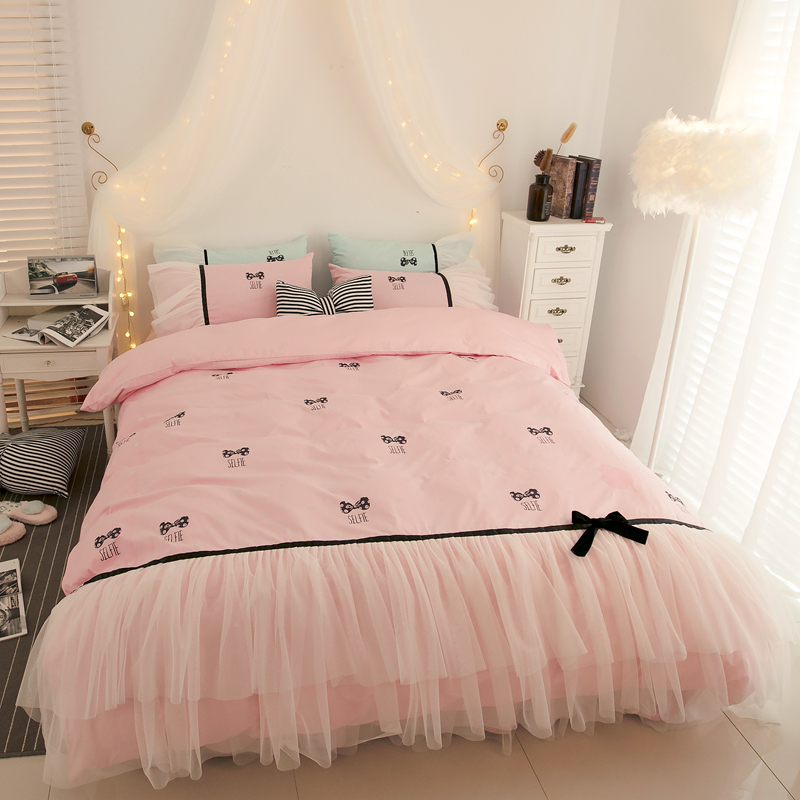 New Princess style pink green bed skirt duvet cover set 100 cotton bedding sets twin queen
