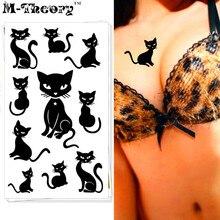 M-Theory Sexy Black Cats Choker Makeup Temporary 3d Tattoos Stciker Flash Tatoos Body Art Tatto Swimsuit Makeup Tools
