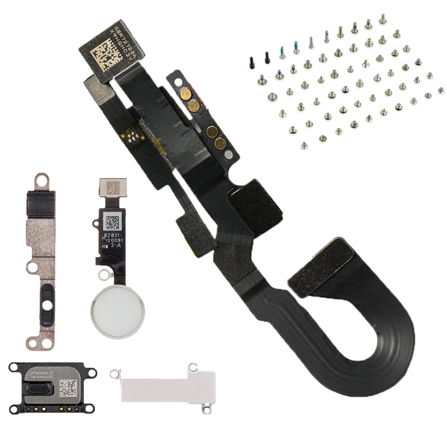 6 sztuk/zestaw dla iPhone8 8 Plus pełny zestaw śruby + przycisk home klucz + głośnik do ucha + z przodu przewód do aparatu kabel + wspornik metalowy