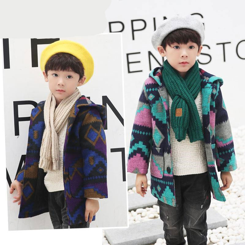 Wool Coat For Boys Woolen Outerwear Boys Winter Jacket Children Clothing 2018 Single-breasted Wool Coat Child Boys Winter Coats peak lapel pocket wool blend pea coat