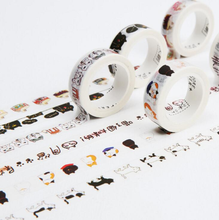 6J101-115   1.5cm Wide The Diary of Cat Decorative Washi Tape DIY Scrapbooking Masking Craft Tape School Office Supply the eyes of the cat