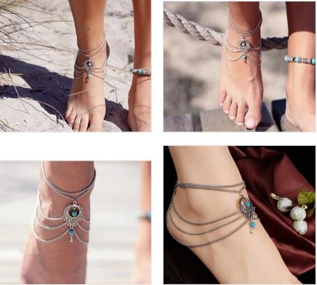 Fashion Boho Ethnic Green stone Beads Anklets Chic Tassel Foot Chain Anklet Bracelet Body Jewelry Anklets For Women Gift