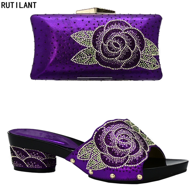 New Arrival Italian Shoes with Matching Bags Set Decorated with Rhinestone Women Summer Shoes African Wedding Shoe and Bag Set
