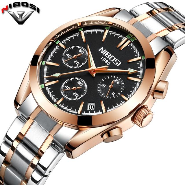 62c20620bef NIBOSI 2018 Top Marca de Luxo Relógio de Aço Inoxidável Homens de Negócios  Casual Relógios de