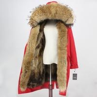 Real Fox Fur Coat Brand Waterproof Fabric Outerwear X long Parka Winter Jacket Women Natural Raccoon Fur Collar Hood Streetwear