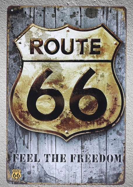 1 pc Route 66 California Feel the freedom USA America Tin Plate Sign wall man cave Decoration Man Art Poster metal vintage