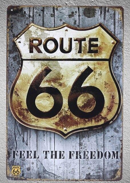 1 pc Route 66 Californie Sentir la liberté USA Amérique D'étain plaque Signe homme mur Décoration cave Man cave Art Affiche en métal vintage
