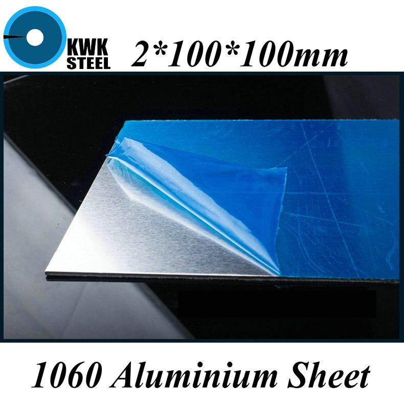 2*100*100mm Aluminum 1060 Sheet Pure Aluminium Plate DIY Material Free Shipping