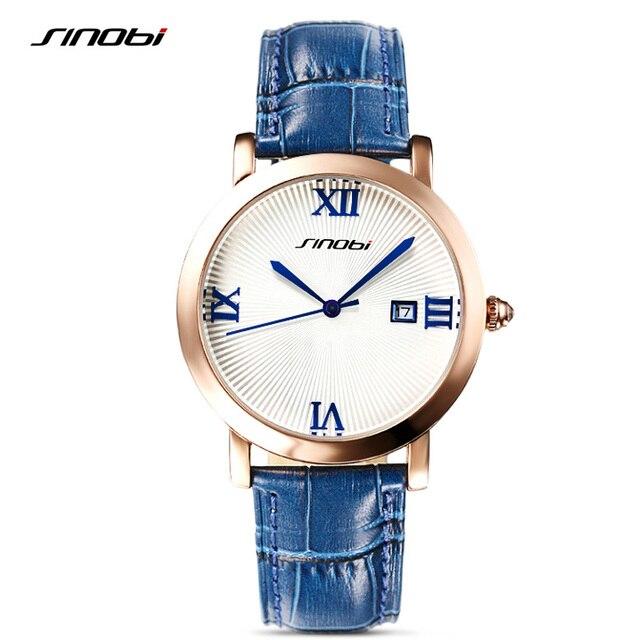40ab5d69515 SINOBI Relógios Antigos das Mulheres Ouro Aço Relógios de Pulso Data Relógio  de Quartzo de Couro