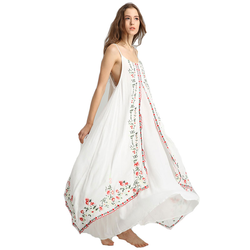 Bohemian Long Slip Dress Women Embroidery Floral V Neck Summer Sexy Casual Beach Boho Chic Hippie Ethnic Holiday Dresses Vestido viven leigh boho floral print long dress retro bohemian maxi dress sexy ethnic deep v neck beach dresses hippie robe