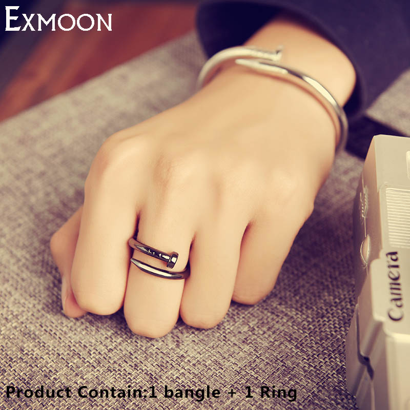 EX MOON Women Men Screw Cuff Bracelets Bangles Ring Fashion Titanium Stainless Steel Love Nail Bracelets