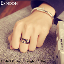 EX-MOON Women/Men Screw Cuff Bracelets&Bangles Ring Fashion Titanium Stainless Steel Love Nail Bracelets Rings jewelry Set Gift