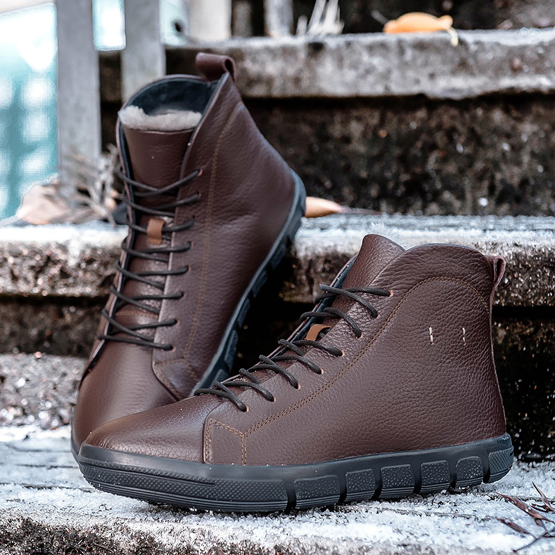 New Men Shoes Felt Boots Shoes Casual Genuine Leather Winter Big Size Italians Sales Luxury Cow Fashion Mens Ankle Boot felt boots