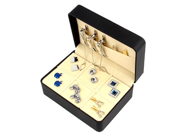 Big Cufflinks Tie Clip Gift Box holder for 6 pairs 146mm*106mm*60mm PU coated