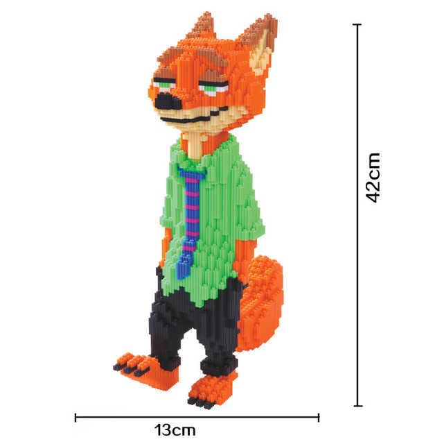 Xizai Big size Connection Blocks Anime Model Building Bricks Zootopia Auction Figures Fox DIY Assembly Toys for Children Gifts