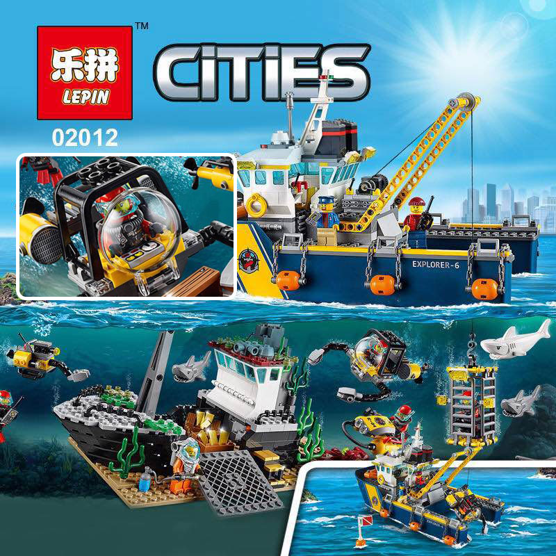 LEPIN 02012 City Series Deepwater Exploration Vessel Children Educational Building Blocks Bricks Toys Model Boy Gift 60095 lepin 02012 city deepwater exploration vessel 60095 building blocks policeman toys children compatible with lego gift kid sets