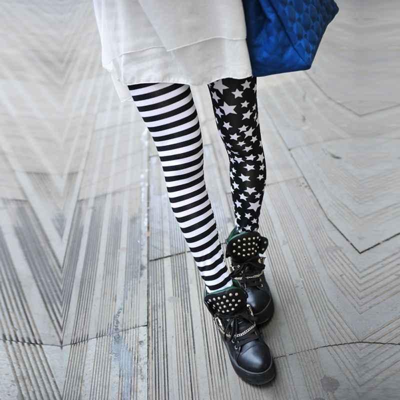 Yeni Moda Sıska Çizgili Yıldız Tayt Kadınlar Casual Sonbahar Dikiş Pantolon Kadın Pantolon