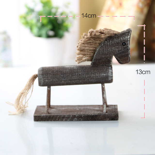 Wooden Horse Home Decor Crafts Figurines Ornaments Living Room Decorative Animal Carvings Wedding Decoration Wood