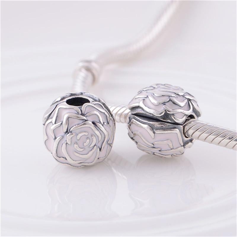 Enamel Rose Silver Clip Charm Beads European Original 100% 925 Sterling Silver Beads Fits Pandora Charm Bracelets & Bangles KT081-N (5)