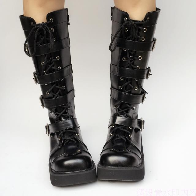 Japanese-Harajuku-High-Platform-Cosplay-Lolita-Mid-Calf-Boots-Women-Black-PU-Leather-Buckle-Straps-Lace-Up-Gothic-Punk-High-Boots-5
