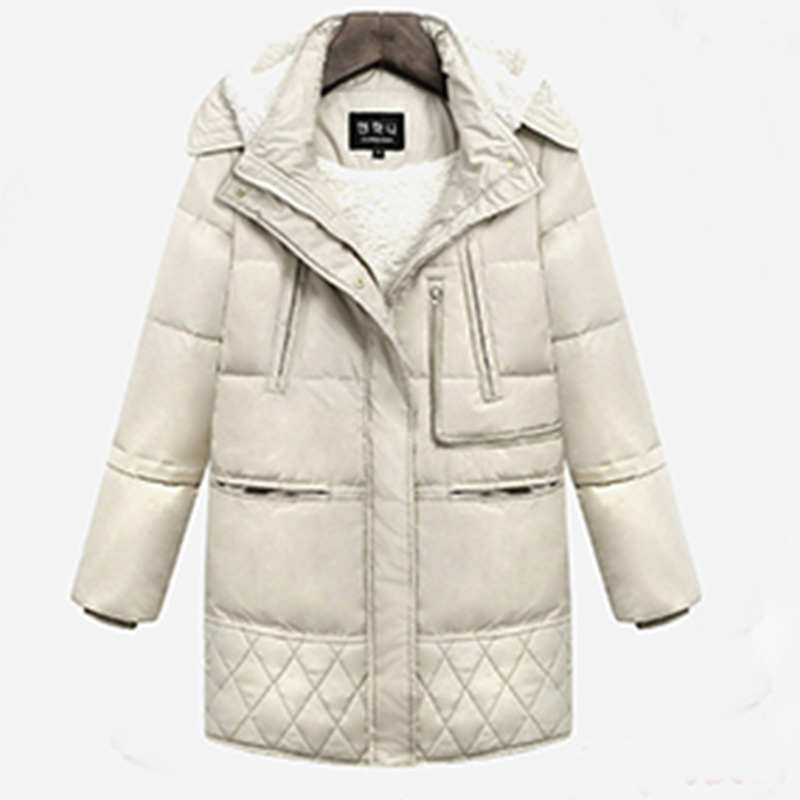 Thicken   Down     Coats   Women Cotton Liner Winter Warm Long   Down   Jacket Black White Parka Luxury High Quality Winter Fashion Outwear