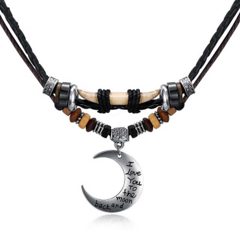 Vintage Tribal Moon Pendant Necklace Multi Layer Braided Leather Rope Beads Necklace for Men Women Bohemian Jewelry Gifts