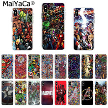 MaiYaCa Back phone Cover Soft TPU Cases Marvel Avengers Heros Comics Collage for iPhone 8 7 6 6S Plus X 5 5S SE 44S XS XR XS max