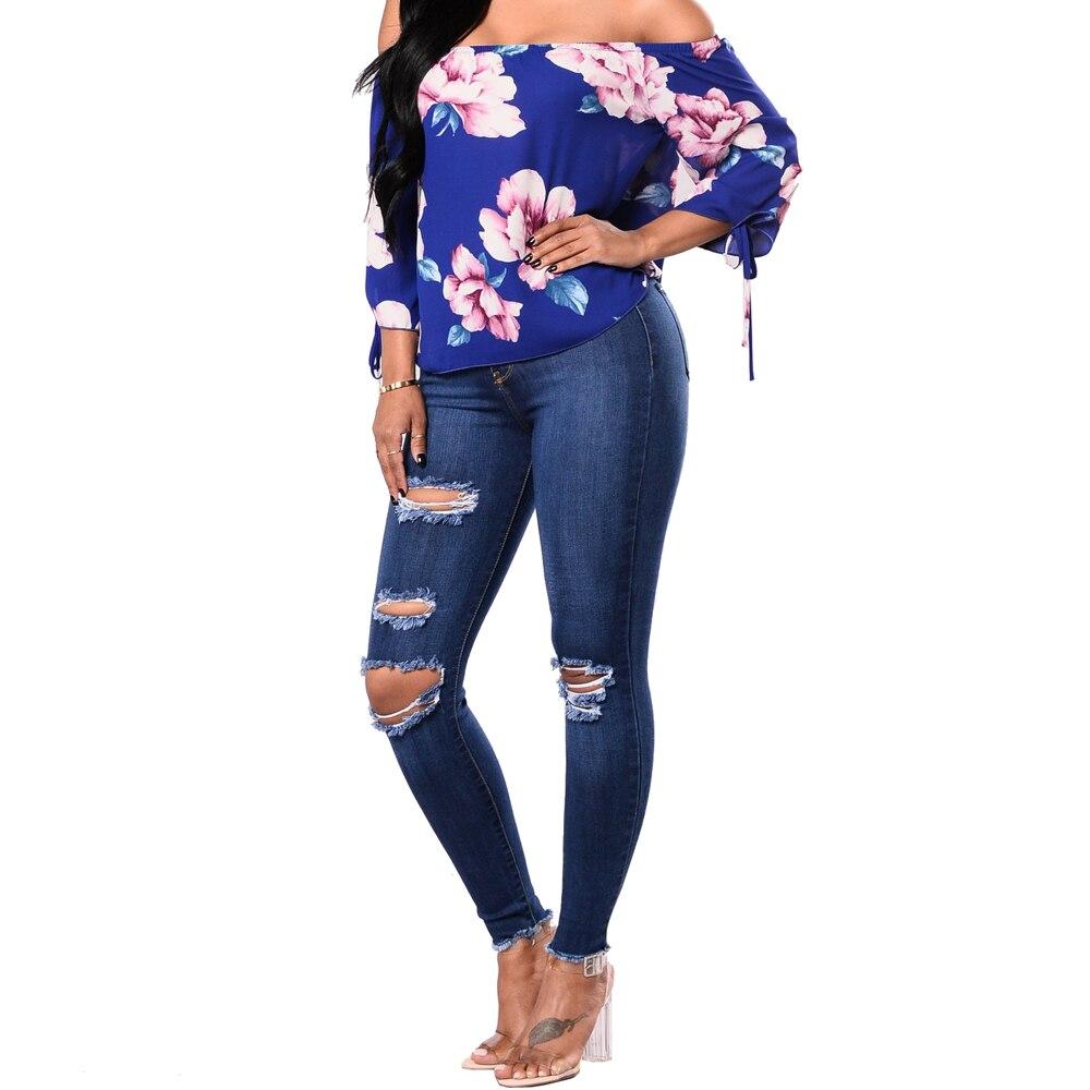 Vaqueros De Nueva Pantalones Fit Azul Alta Cintura Moda Tamaño Elástico Rasgados Femeninos Lápiz 2018 Mujer Más Jeans RvvqA