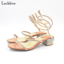 Luchfive Summer Charming Fairy Shiny Crystal studded med heel Sandals women bling bling rhinestone mules beach shoes zapatos