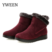 YWEEN Wedge Women Boots Snow Boots Warm Fur Winter Boots Ankle Boots For Women Middle-aged Mother Shoes Female Botas Mujer Shoes