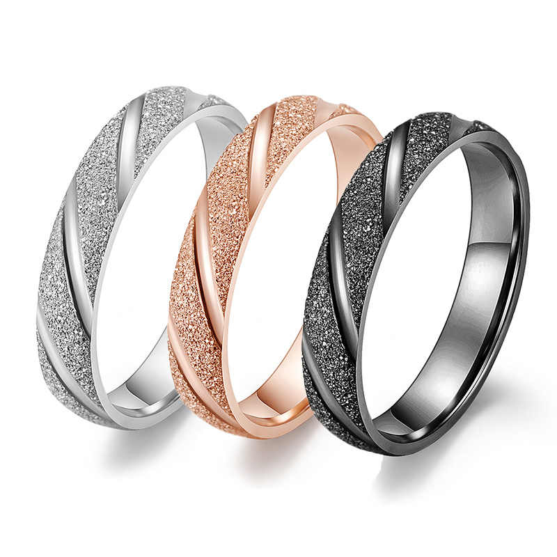 4mm Female Fashion Silver Black Rose Gold Color Ring Stainless Steel Matte Wedding Engagement Ring for Women