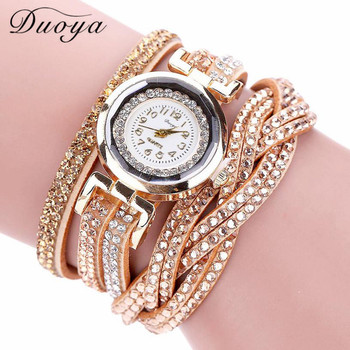 DUOYA Luxury Women Gold Bracelet Quartz wrist watch c79f205b58d4