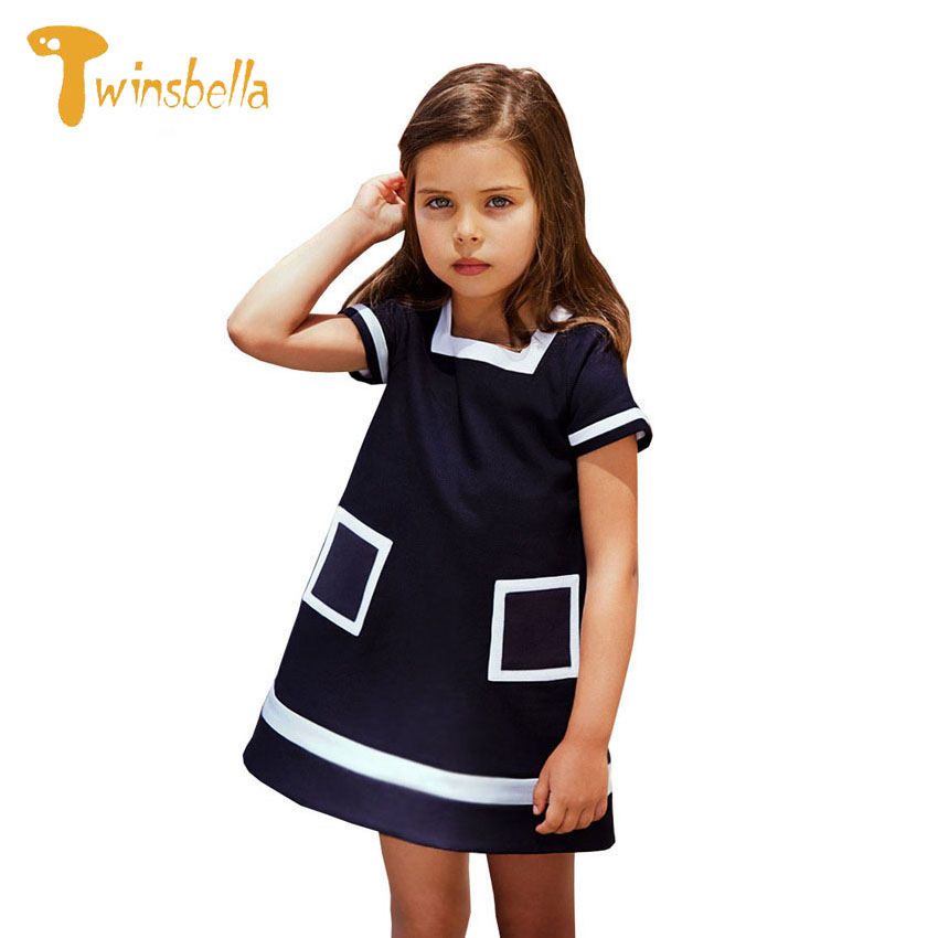 TWINSBELLA 2017 Summer New Girl Dresses Cozy Chambray Short Sleeve Dress Costume for Kids Square Collar Striped Designer Vestido