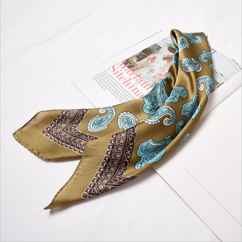 2019 New Women's Square Satin Silk   Scarf   Print   Scarves   Dot Headband   Wrap   Shawls 60*60 cm Patchwork Floral Head Tie Neckerchief