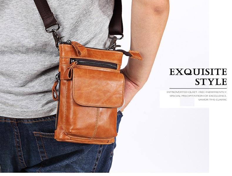 FSSOBOTLUN,For Blackview X/BV7000 Pro/A20/BV5800/S6 Case Men's Belted Waist Wallet Bag Genuine Leather Cover With Shoulder Strap - 4