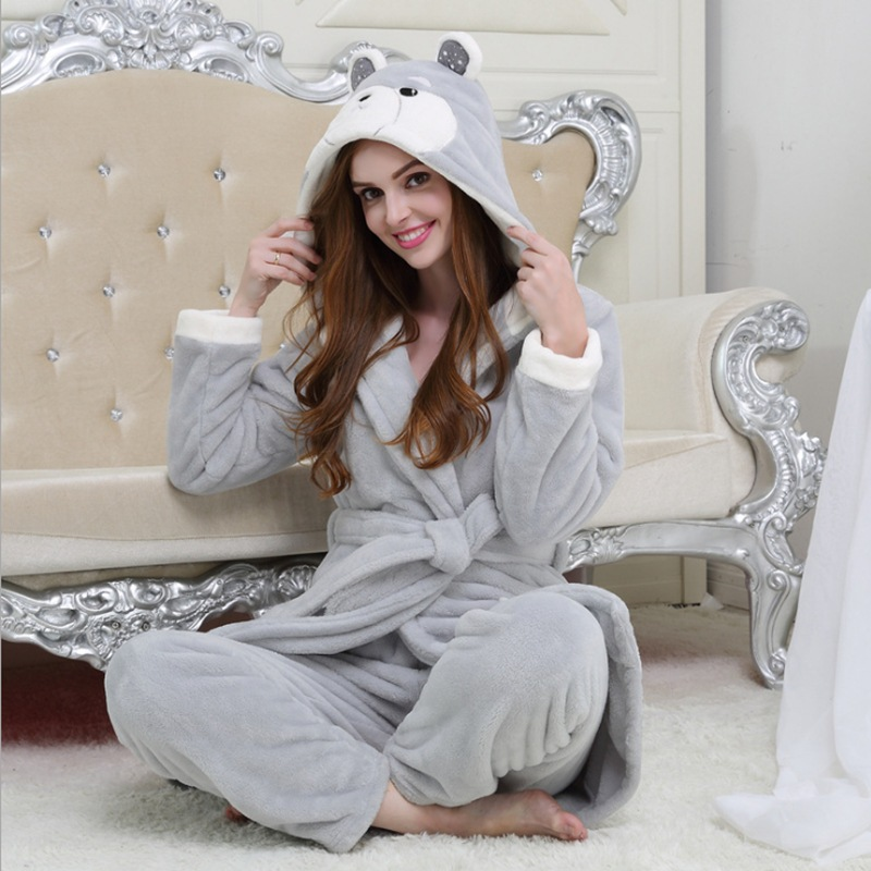 Europe and the United States autumn and winter new female flannel pajamas suit plus velvet thick cartoon leisure home service su