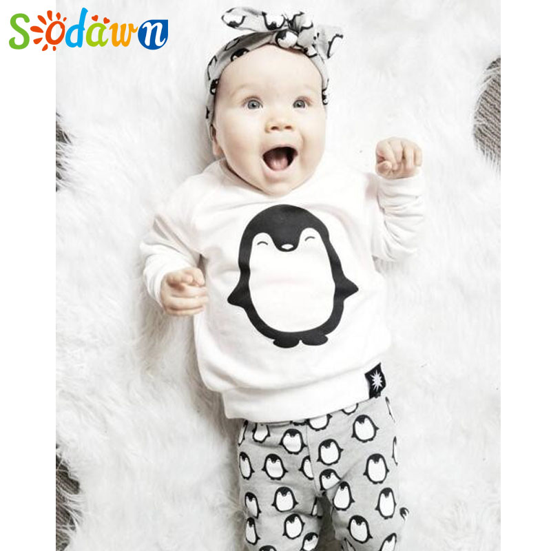 Sodawn New Autumn Baby Clothes Set Cotton Long Sleeve T-shirt Top+Pants Infant Baby Clothing 2 Pcs Comfortable Baby Outfit 2pcs children outfit clothes kids baby girl off shoulder cotton ruffled sleeve tops striped t shirt blue denim jeans sunsuit set