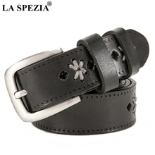 LA SPEZIA Women Leather Belt Black Embroidery Pin Ladies High Quality Genuine Cowhide Female Brand Jeans 105cm