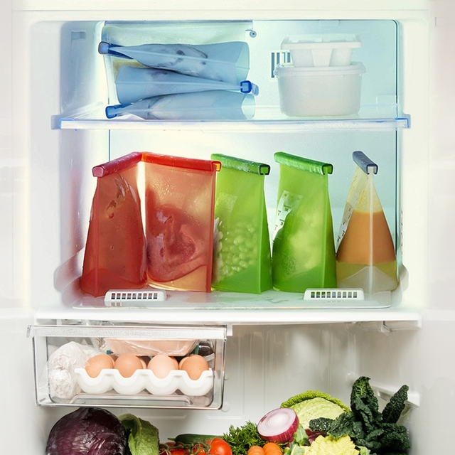 4PCS 1000ml Kitchen Food Sealing Storage Bag Reusable Refrigerator Fresh Bags Silicone Fruit Meat Ziplock Kitchen Organizer