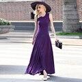 XXXL!Best Quality New Plus Dress Summer 2016 Women Hollow Out Lace Jersey Patchwork Elastic Sleeveless Vest Long Maxi Dress