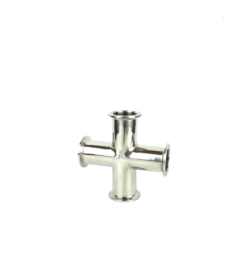 Sanitary Tri Clamp 4 Way Cross Pipe Fitting Stainless steel 304