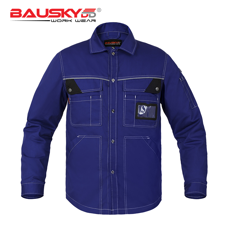 Bauskydd Workwear Worker T-shirt Male Long Sleeves Shirt Multi Pocket Extra Large Size Embroidery Logo Dark Blue classic plaid pattern shirt collar long sleeves slimming colorful shirt for men