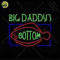 Big Daddy bottom Neon Sign Real Glass Tube Fish Handmade neon light Sign Display Decorate Hotel Pub club Iconic Neon Light Lamp