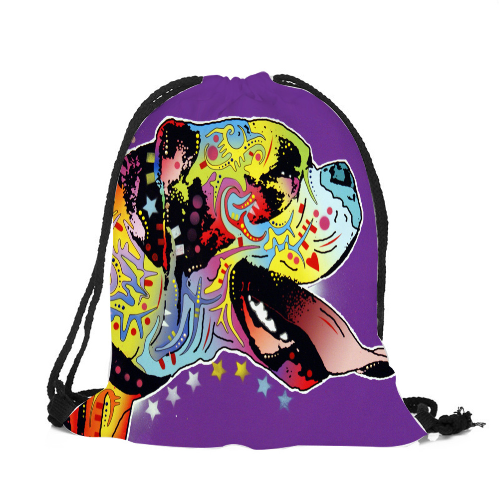 Oil Painting Art Women Drawstring Backpacks Colorful Dogs Polyester Super Quality Lady Fashion Work Daily Practical String BagsOil Painting Art Women Drawstring Backpacks Colorful Dogs Polyester Super Quality Lady Fashion Work Daily Practical String Bags