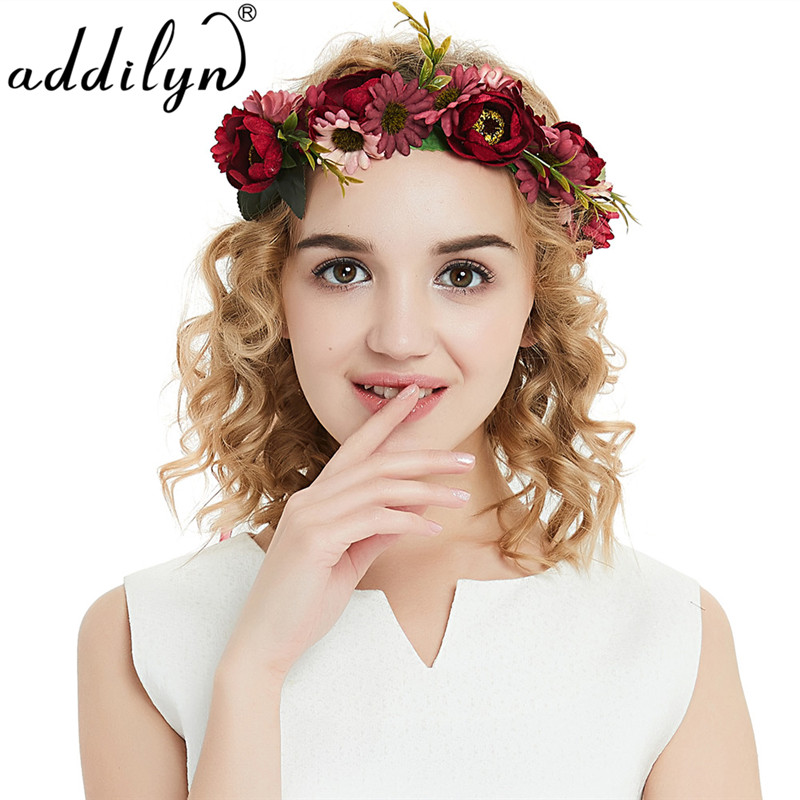 Handmade wine red flower crowns hair flower tiara wedding woman handmade wine red flower crowns hair flower tiara wedding woman girls headband hair accessories bridal red flower wreath in hair accessories from womens junglespirit Image collections