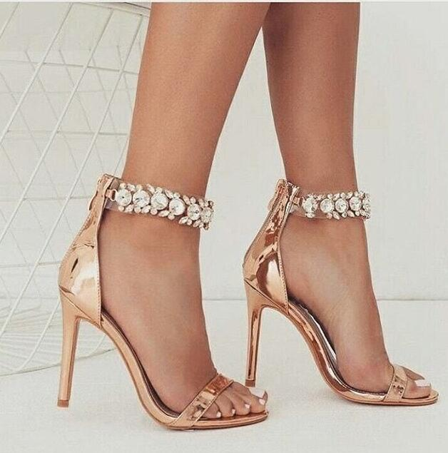 Newest Crystal Embellished Ankle Strap High Heel Sandal Sexy Open toe Rose Gold PU leather thin heels shoe gladiator sandal гарнитура qumann qse 01 simple black red