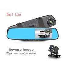 Dual Lens Auto Dvr Macchina Fotografica del rivelatore Blu Recensione Specchio DVR Digital Video Recorder Auto Videocamera del Precipitare Cam FHD 1080 P di Visione Notturna