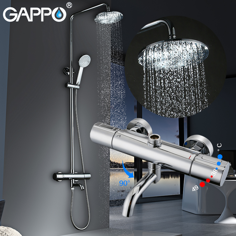 GAPPO shower system Bathtub mixer tap Bath Shower taps waterfall shower head bathroom tap mixer torneira tap rainfall shower set
