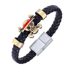 Anime One Piece Skull Naruto Bracelet Unisex Cosplay Leather Woven Style Bangle Cute for Fans Magnetic Fashion Jewelry Pulseras
